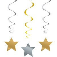 Gold and Silver Star Hanging Decorations, 26in, 3ct
