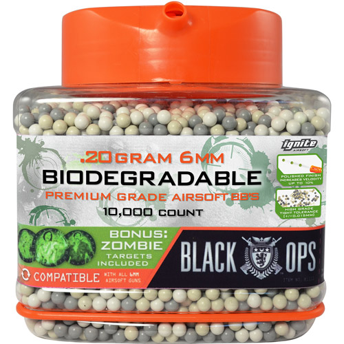 Black Ops Premium Biodegradable .20 Gram 6mm Air Soft BBs, 10,000-Count with Bonus Zombie Targets