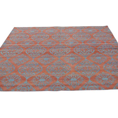 Bungalow Rose Reversible Durie Kilim Flat Weave Hand Knotted Red Denim Blue Area Rug