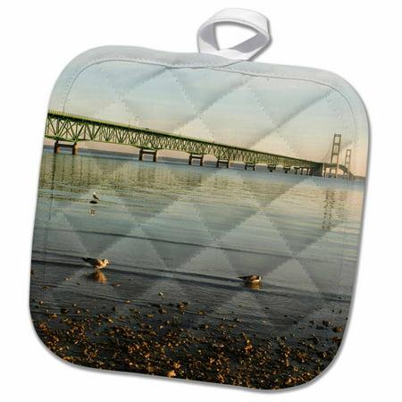 3dRose USA, Michigan, Mackinaw City, Mackinac Bridge - US23 PHA0005 - Peter Hawkins - Pot Holder, 8 by 8-inch (Party City Taylor Michigan)