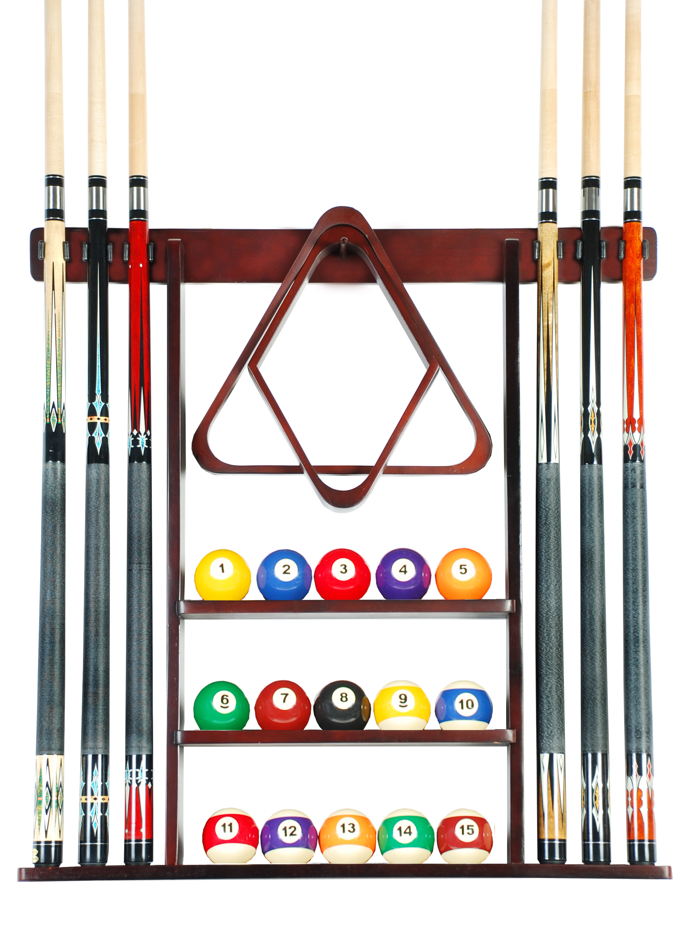 Cue Rack Only- 6 Pool Billiard Stick + Ball Set Wall Rack Holder Mahogany Finish by Iszy Billiards
