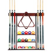 Cue Rack Only- 6 Pool Billiard Stick + Ball Set Wall Rack Holder Mahogany Finish
