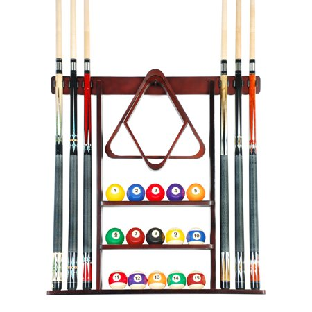 Cue Rack Only- 6 Pool Billiard Stick + Ball Set Wall Rack Holder Mahogany Finish