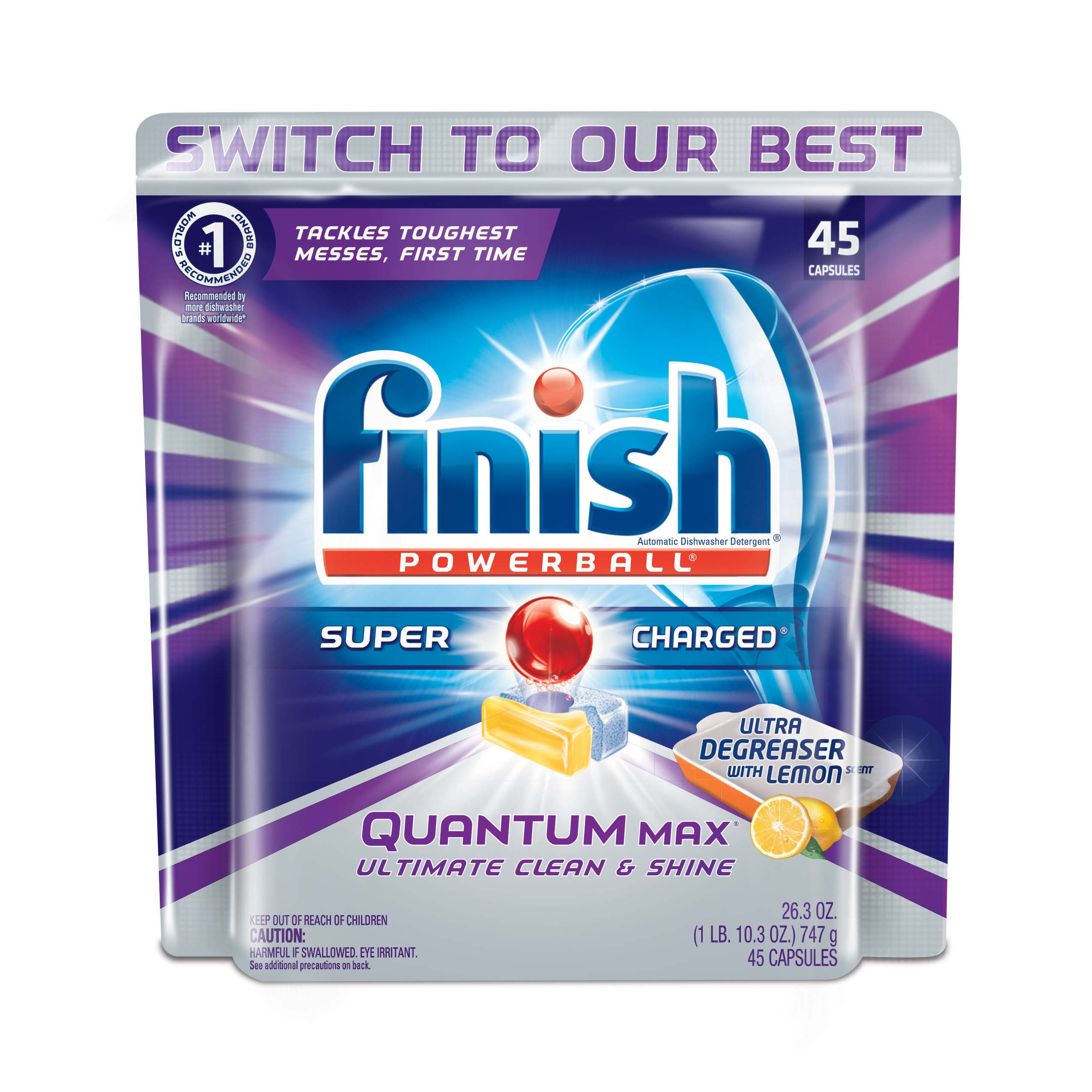 Finish Quantum Max Powerball Dishwasher Detergent Tablets, Lemon, 45 Count