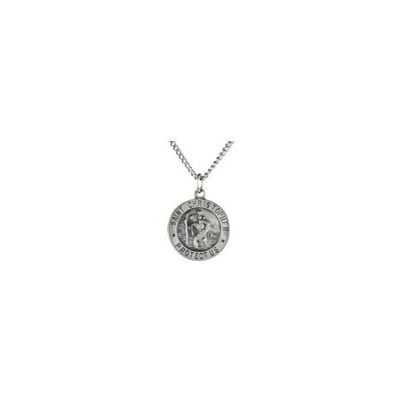 Jewelria Collection (Bella Grace Jewelry Collection Sterling Silver 12mm St. Christopher Medal 18