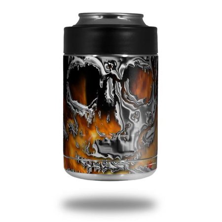 Skin Decal Wrap for Yeti Colster, Ozark Trail and RTIC Can Coolers - Chrome Skull on Fire (COOLER NOT INCLUDED) by WraptorSkinz (Yeti Rambler Can Cooler)