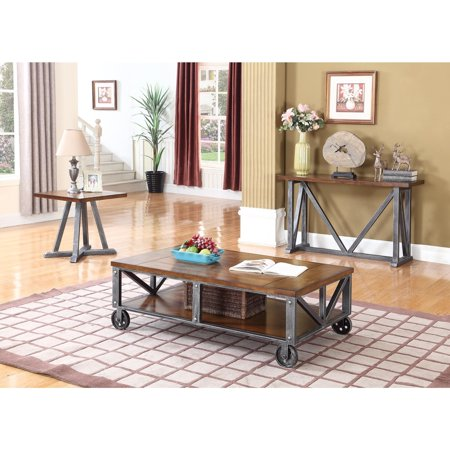 Best Master Furniture Durham Walnut With Brushed Gray Iron Living Room Tables, End Table