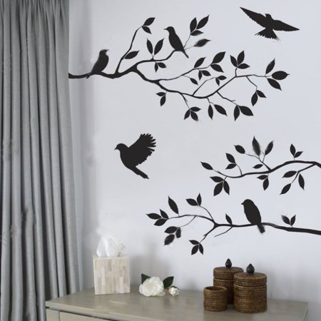 Halloween Tree Wall Art (Birds Flying Tree Branches Wall Sticker Vinyl Art Decal for Home Bedroom Home Mural Decor)