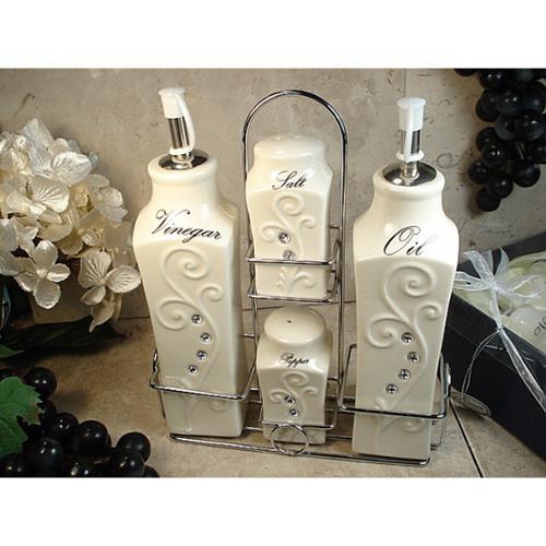 Divine Designs  Deco Design 4-piece Oil Vinegar Salt Pepper Set with Metal Caddy