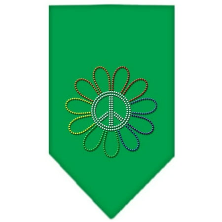 Rainbow Peace Flower Rhinestone Bandana Emerald Green -