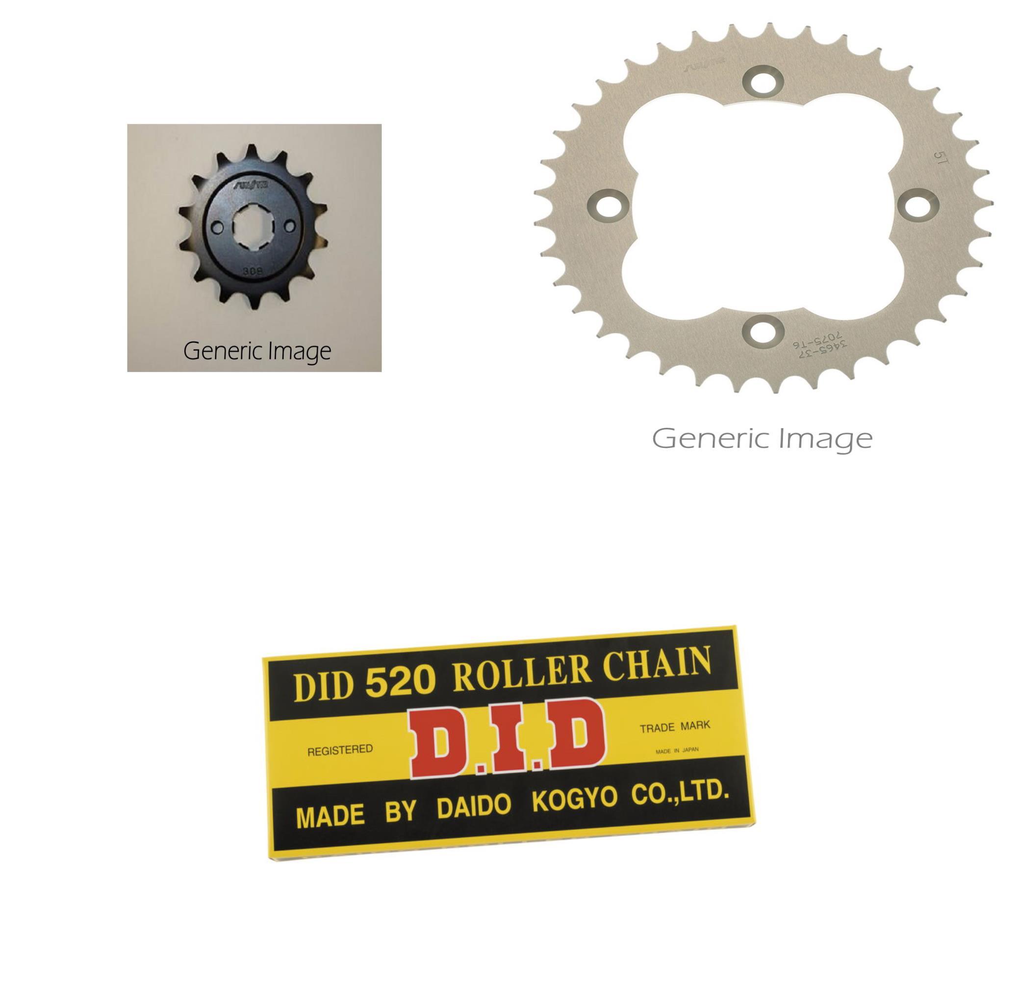 520 Standard Chain Natural, Front & Rear Sprocket Kit fit...