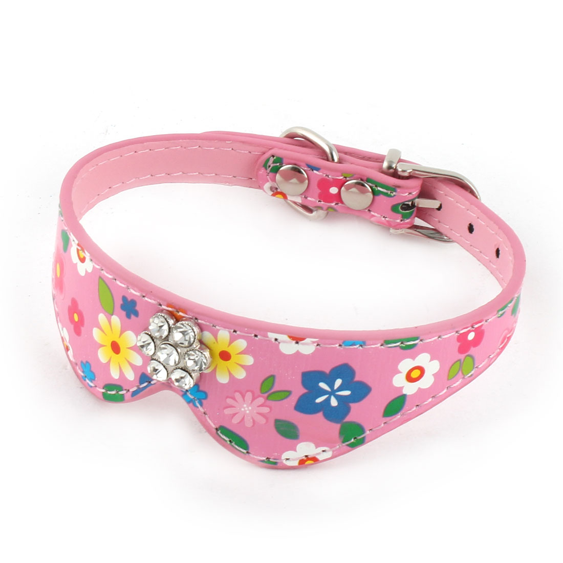 Pet Dog Cat Tie Shaped Flower Pattern Single Pin Buckle Belt Collar Strap Pink