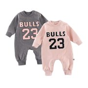 Autumn Baby Boy Girl Casual Number Letters Print Romper - Infant Long Sleeve Children Bodysuit Jumpsuit Outfits