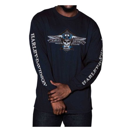 Harley-Davidson Men's Aviator Skull Long Sleeve Crew Neck Shirt, Navy Blue, Harley (Long Sleeved Navy Blue Shirt)