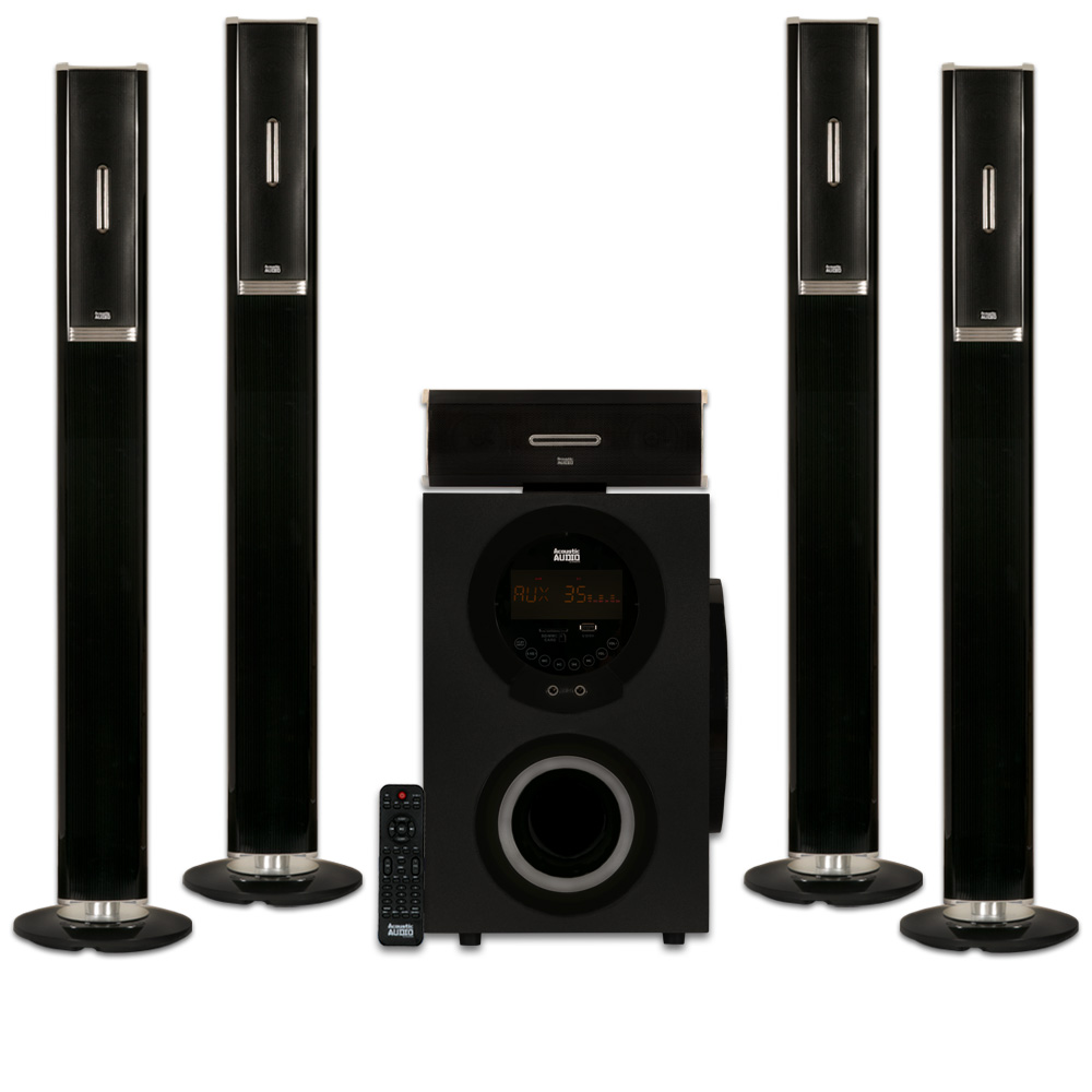"Acoustic Audio AAT3002 Tower 5.1 Home Theater Bluetooth Speaker System with 8"" Powered Subwoofer by Acoustic Audio by Goldwood"