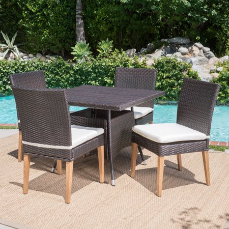 bc20da2fc06a Blythe Outdoor Square 5 Piece Wicker Dining Set with Cushions ...