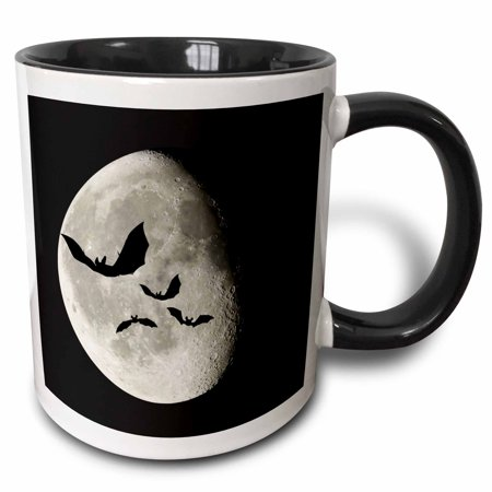 Bats Flying (3dRose bats flying past the moon - Two Tone Black Mug,)