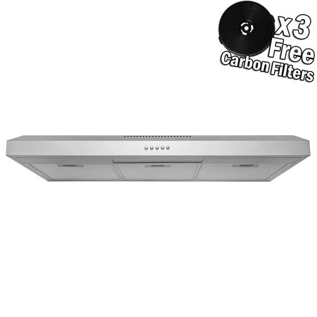"AKDY 36"" Under Cabinet Stainless Steel Push Panel Kitchen Range Hood Cooking Fan w/ Carbon Filters"