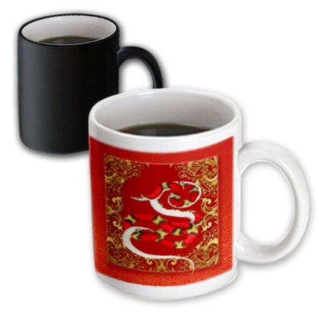 3dRose Chinese Zodiac Year of the Snake Chinese New Year Red, Gold and Black , Magic Transforming Mug,