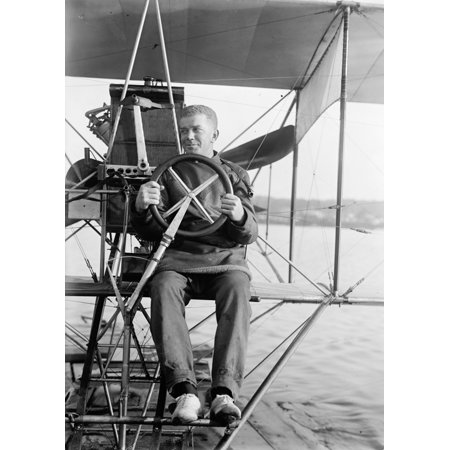 Theodore Ellyson N 1885 1928  American Aviator And The First United States Navy Officer Designated As An Aviator Testing A Seaplane On The Potomac River Photograph 1911 Rolled Canvas Art     24 X 36