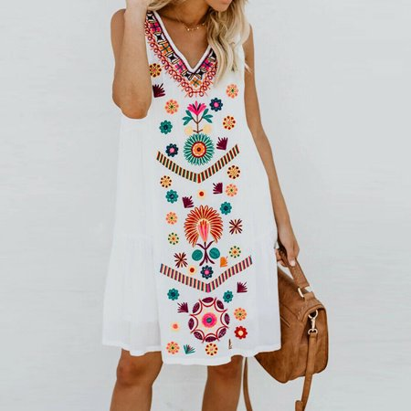 Plus Size Womens Summer Boho Sundress Sleeveless Floral Beach Short Mini Dress Tops White S