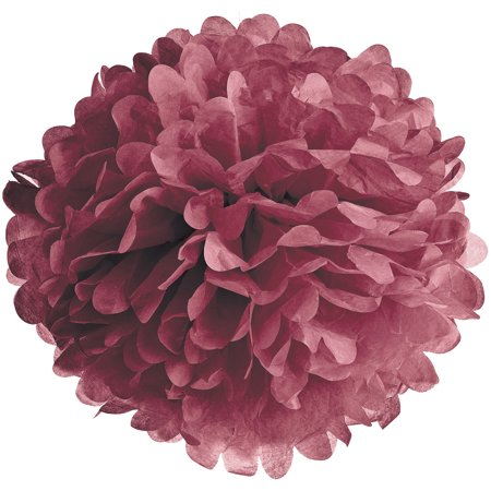 Tissue Paper Pom Pom (10-Inch, Boysenberry Red) - For Baby Showers, Nurseries, and Parties - Hanging Paper Flower Decorations