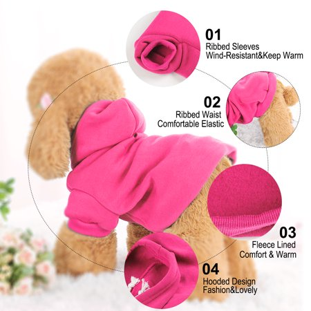 Cotton Dog Winter/Spring/Fall Sweatshirt Hoody Pet Clothes Warm Coat Fuchsia S - image 2 of 7
