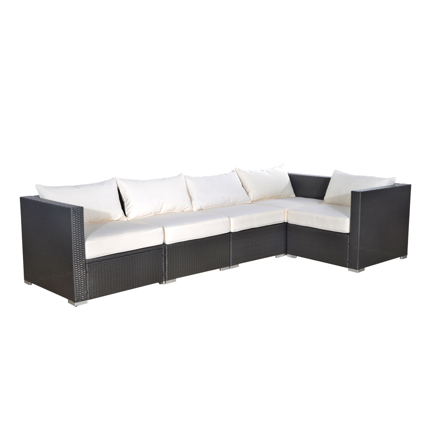 Outsunny 5 Piece Outdoor Rattan Wicker Garden Patio Sofa Sectional