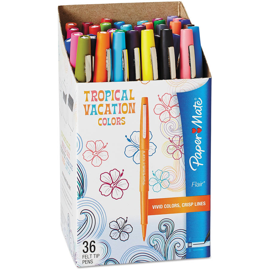Paper Mate Flair Felt Tip Marker Pen, Assorted Tropical Ink, Medium, 36 Per Pack