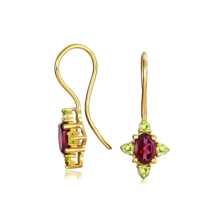 Tiny Bali Style Peridot Red Rhodolite Garnet Gemstone Oval Drop Earrings For Women 14k Gold Plated 925 Sterling Silver