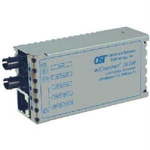 Omnitron Systems 1100-0-1 miConverter 10/100 Ethernet Fiber Media Converter RJ45 ST Multimode 5km - 1 x 10/100BASE-TX, 1 x 100BASE-FX, US AC Powered, Lifetime Warranty