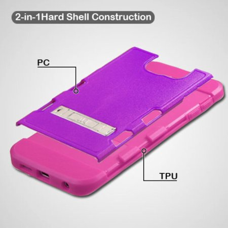 Insten Hard Rubber Coated Silicone Case w/stand For Samsung Galaxy S6 Edge - Purple/Hot Pink - image 4 of 9