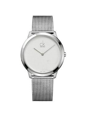 Calvin Klein Men's Minimal K3M2112Y 40mm Silver Textured Dial SS Mesh Watch