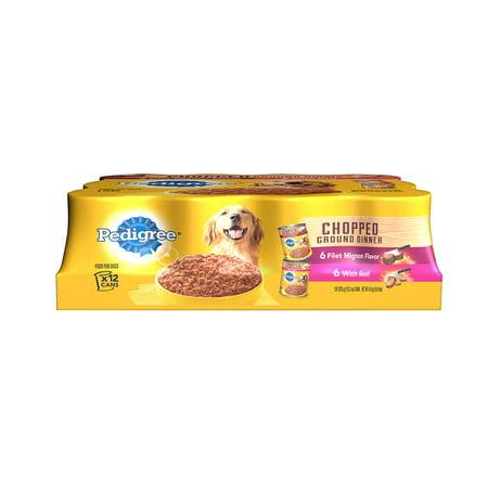 Pedigree Chopped sol Dîner Multipack Filet Mignon & boeuf aliments pour chiens 13.2 Onces (12 Count)