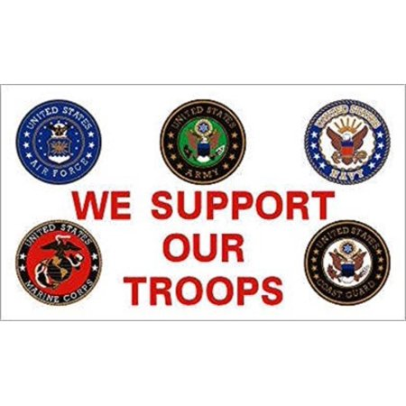 3x5 flag We Support Our Troops Branches, 100% polyester material 3'x5'. By Americas - Troops Garden Flag