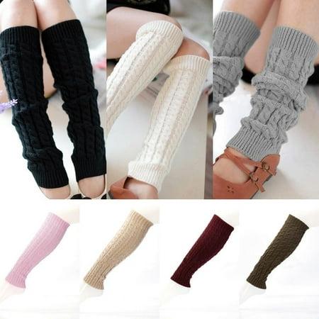 Neon Pink Leg Warmers (Women Winter Warm Knit High Knee Leg Warmers Crochet Leggings Boot Socks)