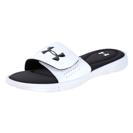 Under Armour Men's Ignite V Slide White/Black 7 M (Best Dress Shoes Under 100)