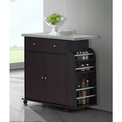 Hodedah Kitchen Cart with Spice Rack & Towel Rack, Chocolate