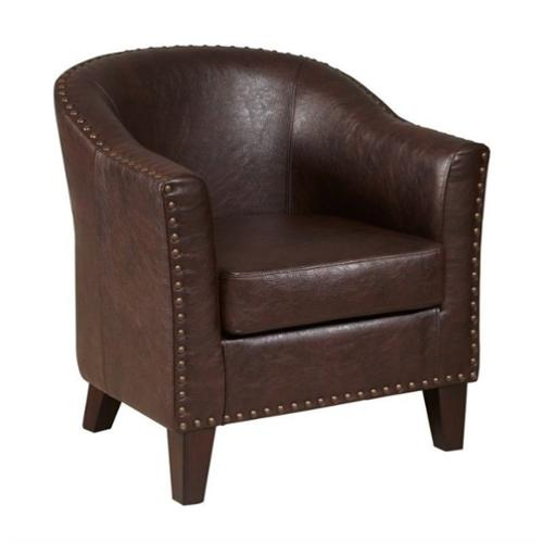 PRI Faux Leather Accent Chair in Brown