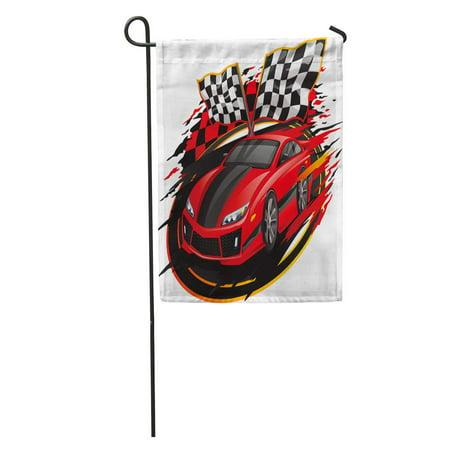KDAGR Red Race Speeding Racing Car Checkered Flag Racetrack Orange Fast Vehicle Garden Flag Decorative Flag House Banner 12x18 inch - Racecar Flag