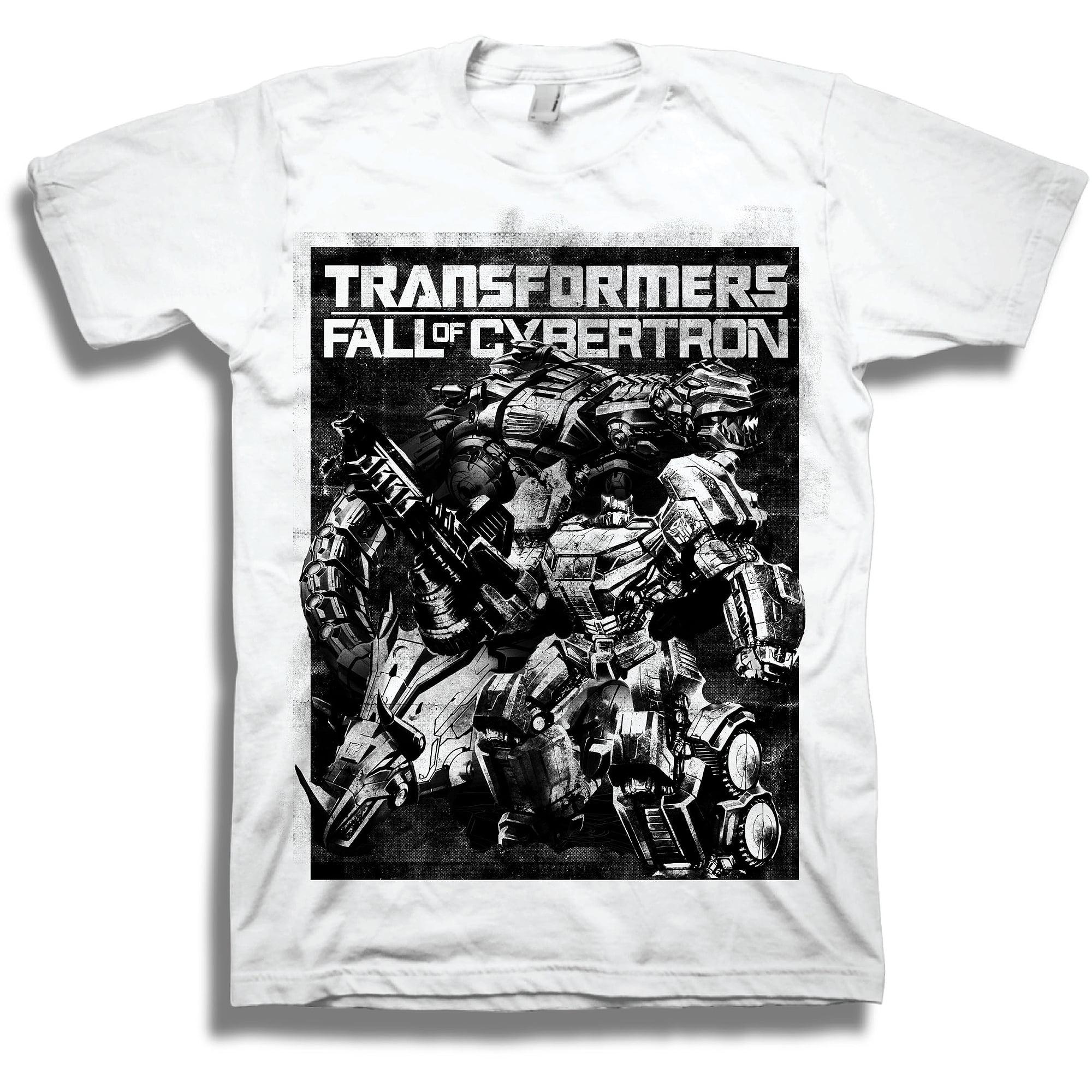 Big Mens Transformers B&W Fall of Cybertron Graphic Tee