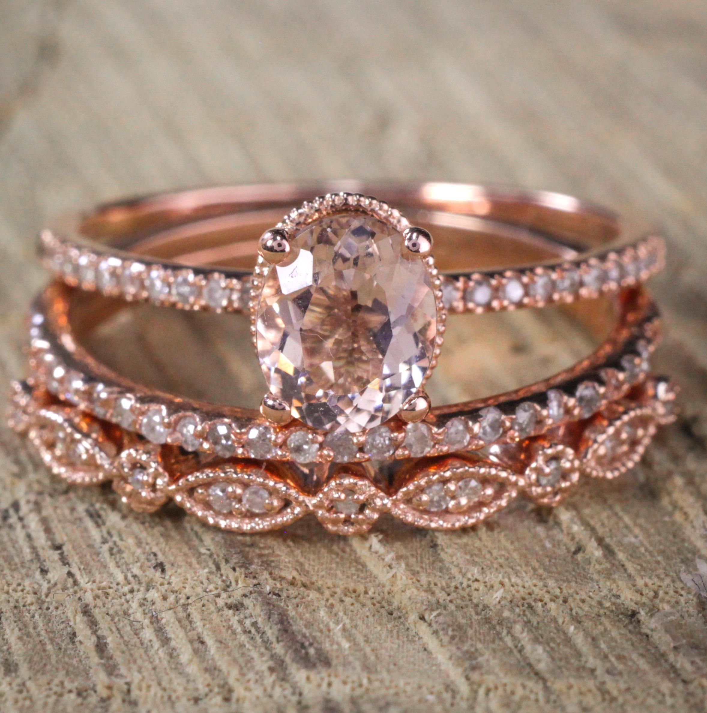 Sale 2 carat Antique Milgrain Oval Shape Morganite Diamond Trio
