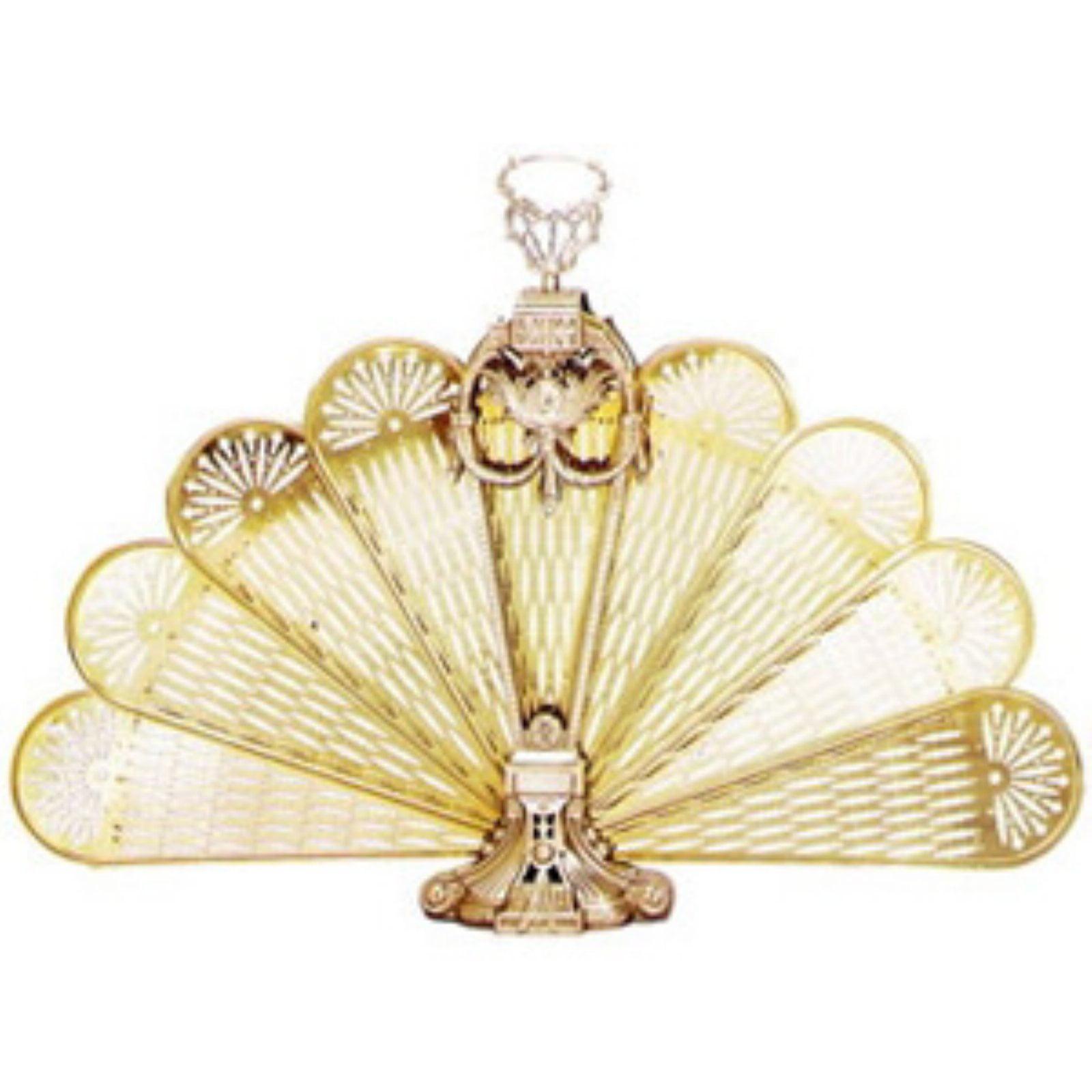Uniflame Single Panel Polished Brass Ornate Fan Fireplace Screen