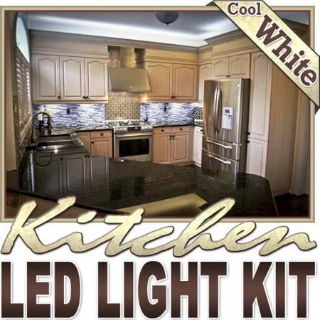 Biltek 16.4' ft Cool White Kitchen Counter Cabinet LED Lighting Strip + Dimmer + Remote + Wall Plug 110V - Counters Microwave Glass Cabinets Floor Night Light Lamp Waterproof Flexible - Lighted Glasses