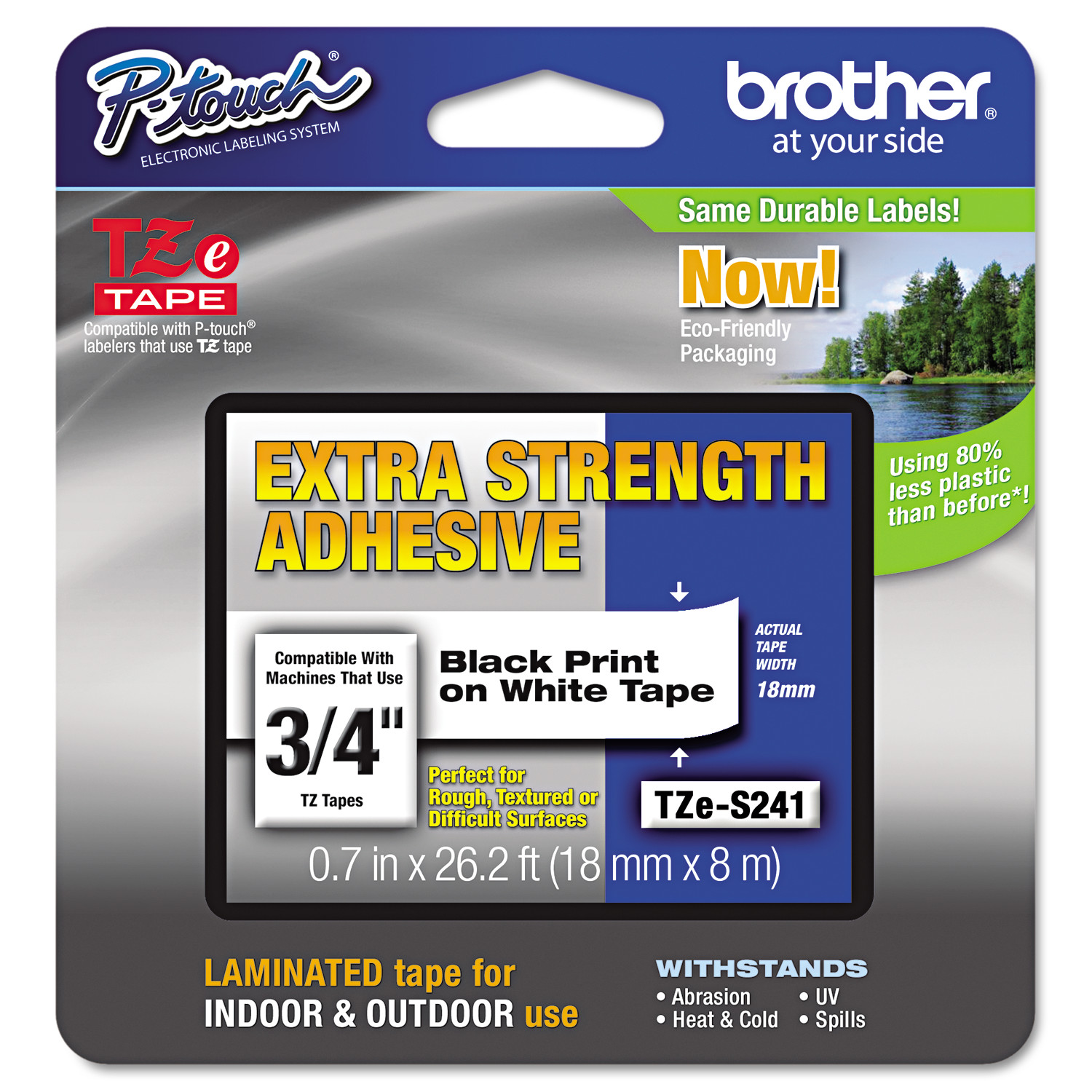 """Brother TZES241 P-Touch TZe Extra-Strength Adhesive Laminated Labeling Tape, 3/4""""w, Black on White"""