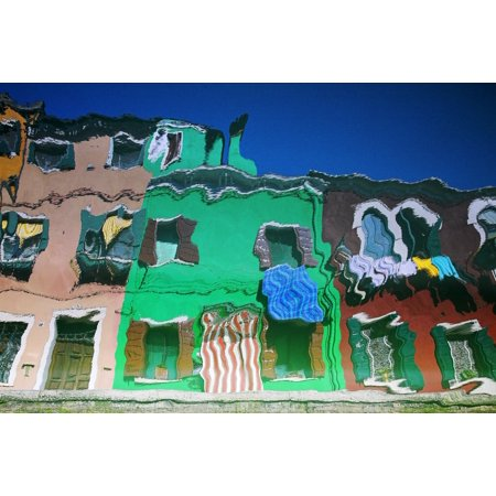 Reflections Of Burano Housing Italy Canvas Art   Chris Upton  Design Pics  34 X 22