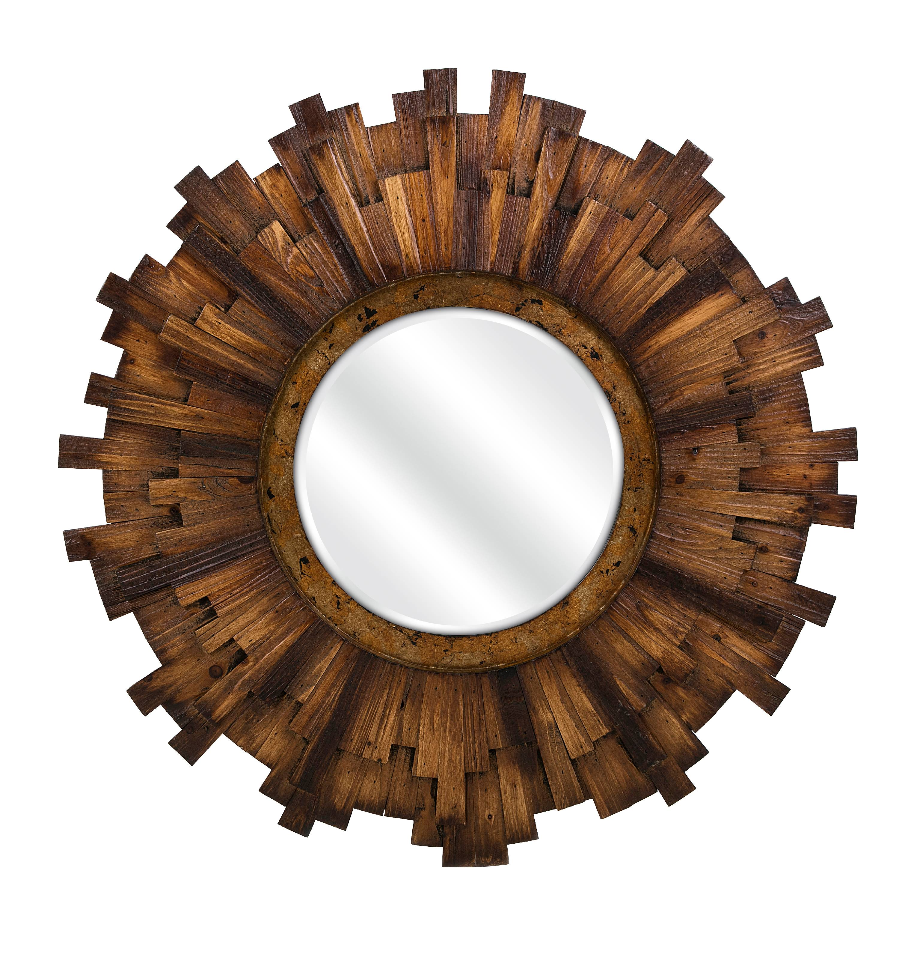 Imax Barclay Round Wood Mirror