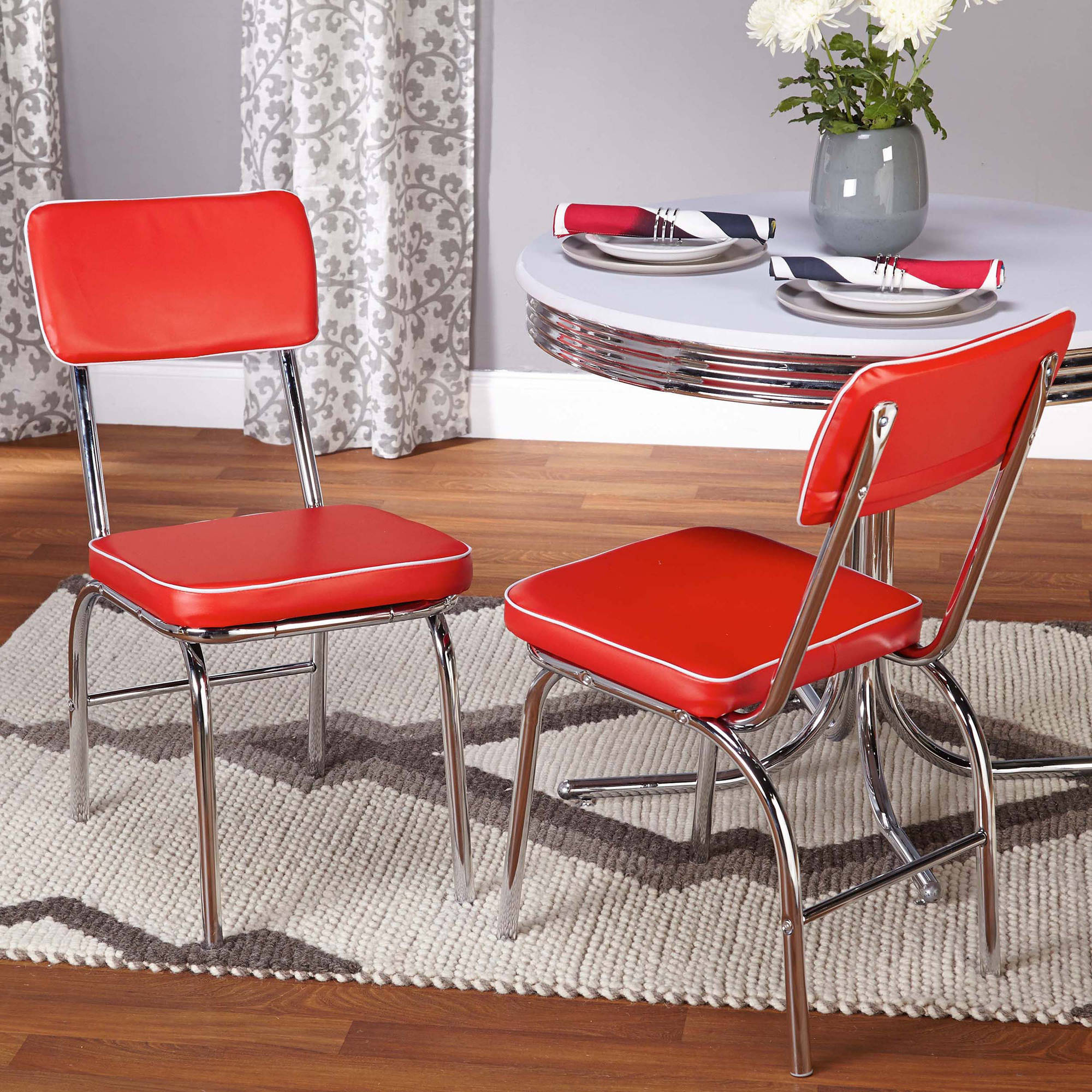 Table Chairs Walmart: Retro 5-Piece Dining Set Bundle, Red