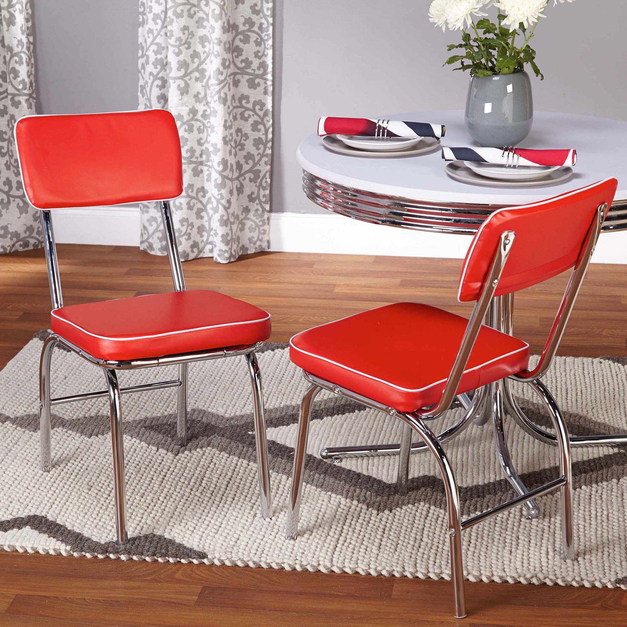 Merveilleux Retro Dining Chairs, Set Of 2, Red