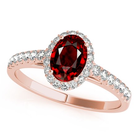 1.75 Ct Diamond & Oval Shaped Garnet Engagement/Wedding Ring - 10K Gold